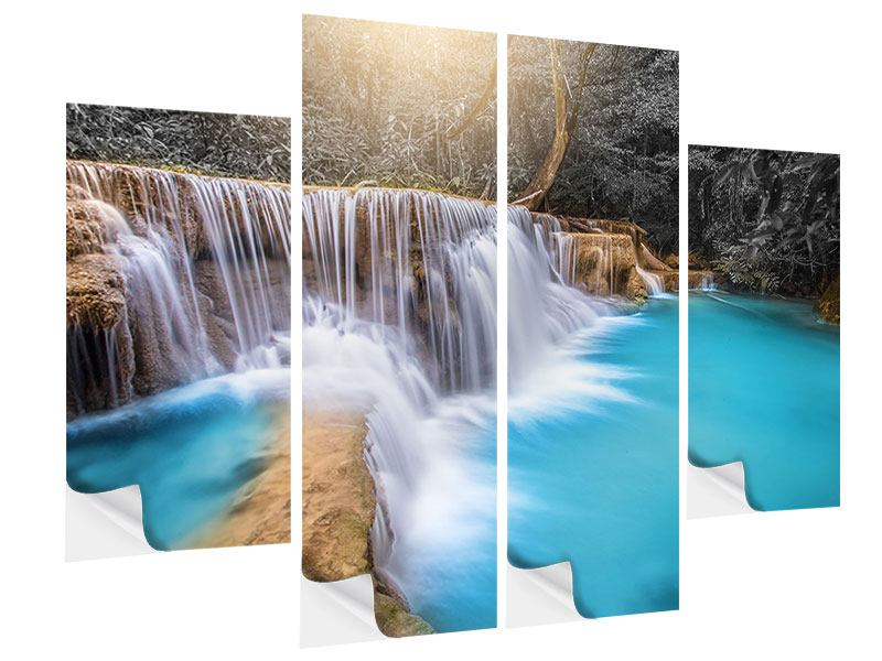 4 Piece Self-Adhesive Poster Happy Waterfall