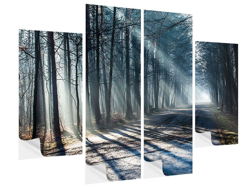 4 Piece Self-Adhesive Poster Forest In The Light Beam