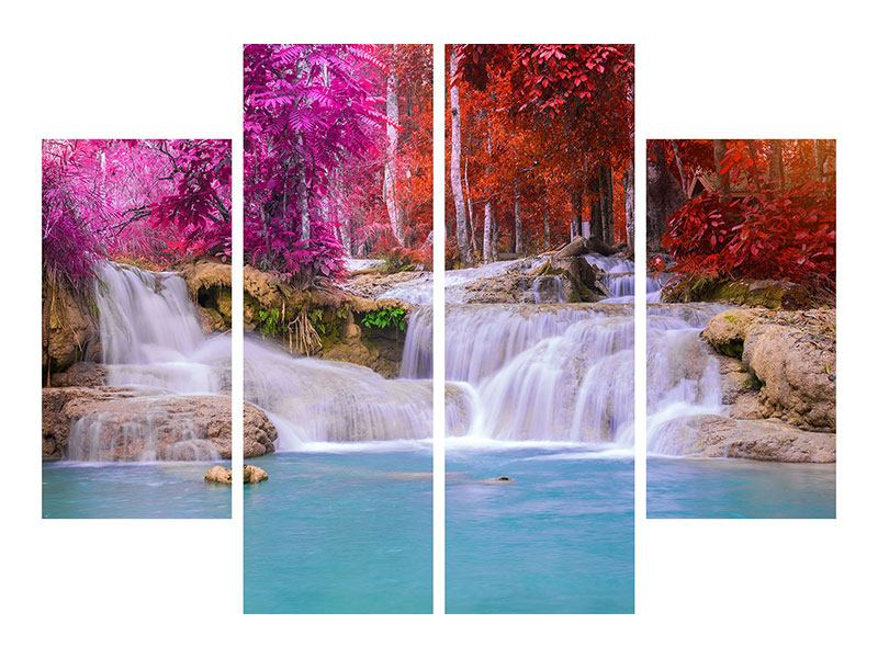 4 Piece Self-Adhesive Poster Paradisiacal Waterfall