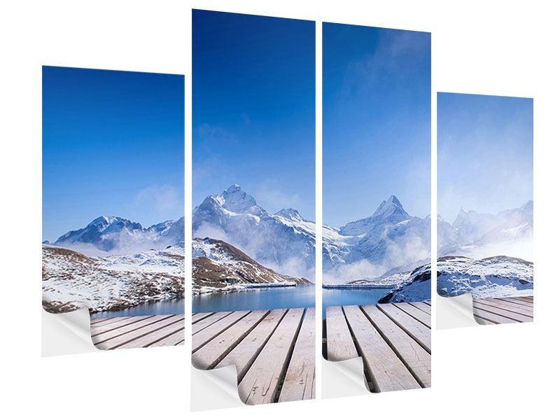 4 Piece Self-Adhesive Poster Sundeck At The Swiss Mountain Lake