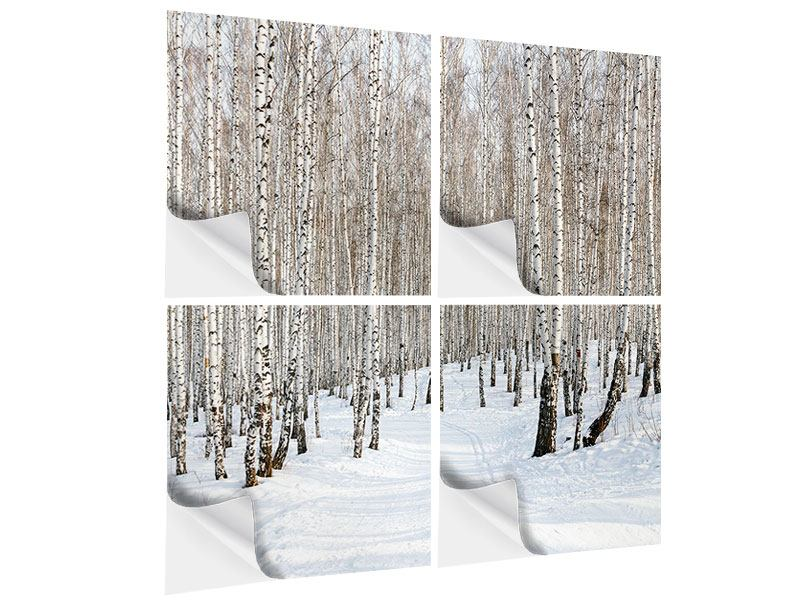4 Piece Self-Adhesive Poster Birch Forest Tracks In Snow