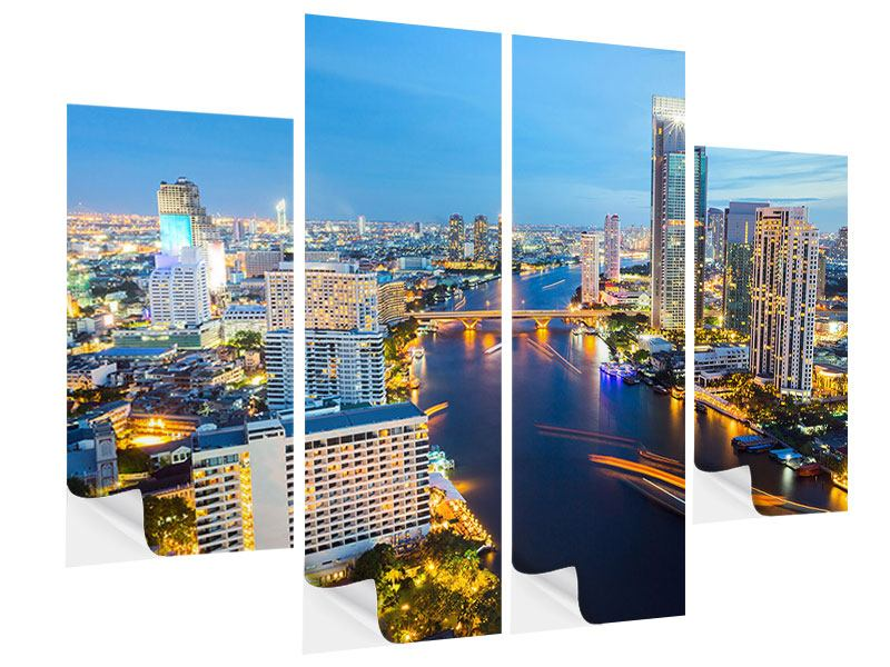 4 Piece Self-Adhesive Poster Skyline Bangkok At Sunset