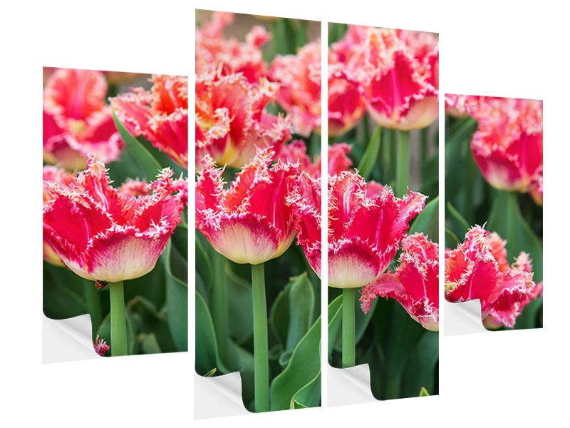 4 Piece Self-Adhesive Poster The Tulips Meadow