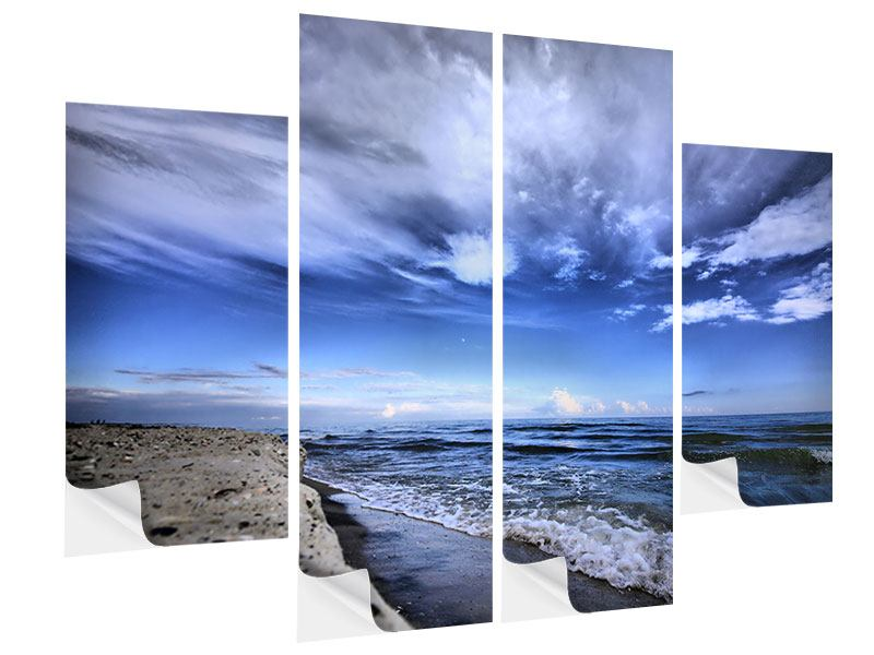 4 Piece Self-Adhesive Poster Beach Waves
