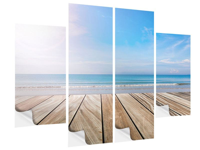 4 Piece Self-Adhesive Poster The Beautiful Beach House