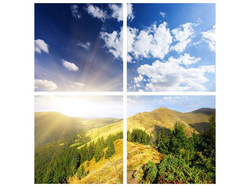 4 Piece Self-Adhesive Poster Sunrise In The Mountains