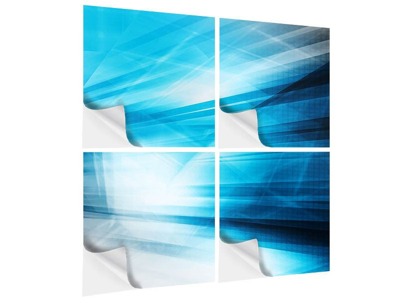 4 Piece Self-Adhesive Poster Abstract Lasershow