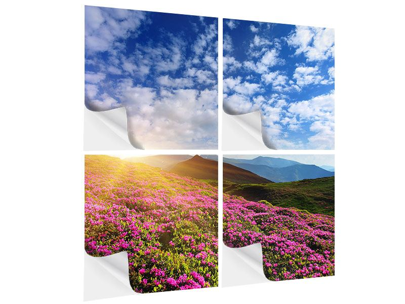 4 Piece Self-Adhesive Poster Flowery Mountain Landscape