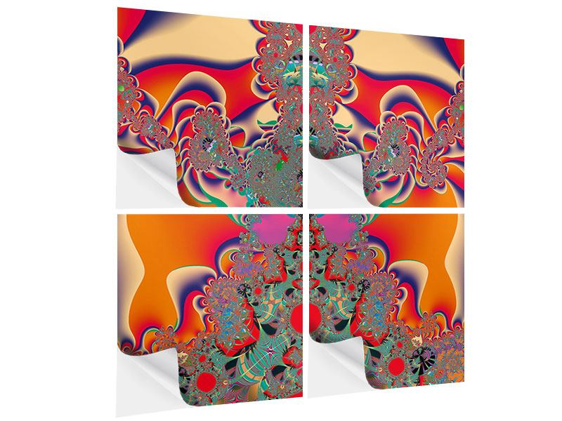 4 Piece Self-Adhesive Poster Psychedelic Fractal Art