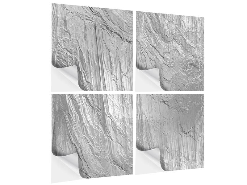 4 Piece Self-Adhesive Poster Gigantic Icewall