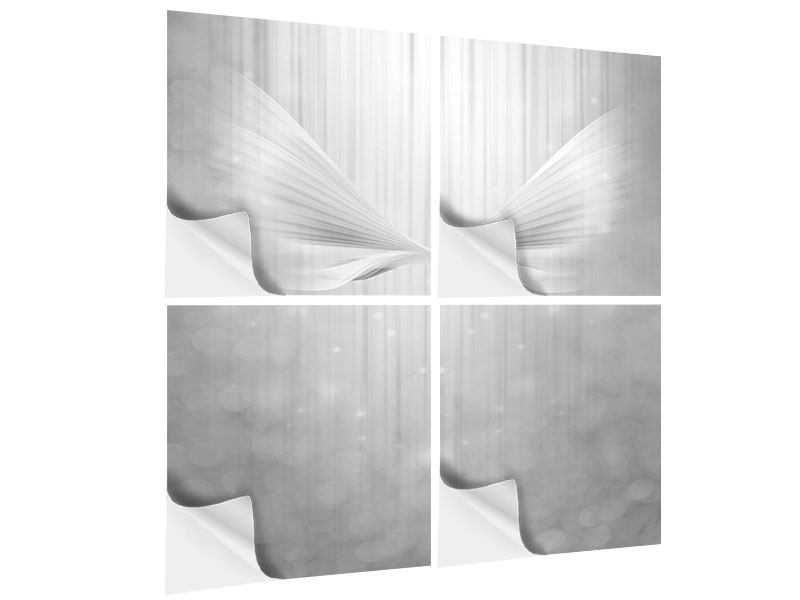 4 Piece Self-Adhesive Poster Angel Wings