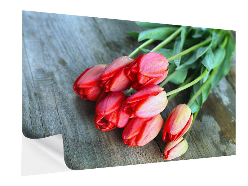 Posters adhesif Le bouquet de tulipes rouges