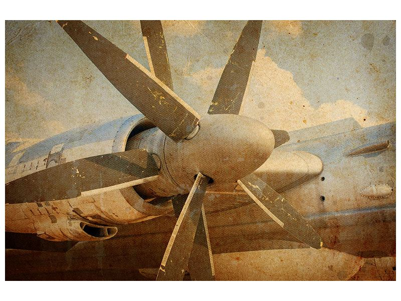 Self-Adhesive Poster Propeller Plane In Grunge Style