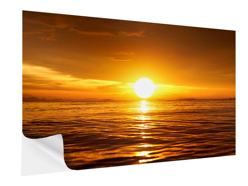 Self-Adhesive Poster Glowing Sunset On The Water