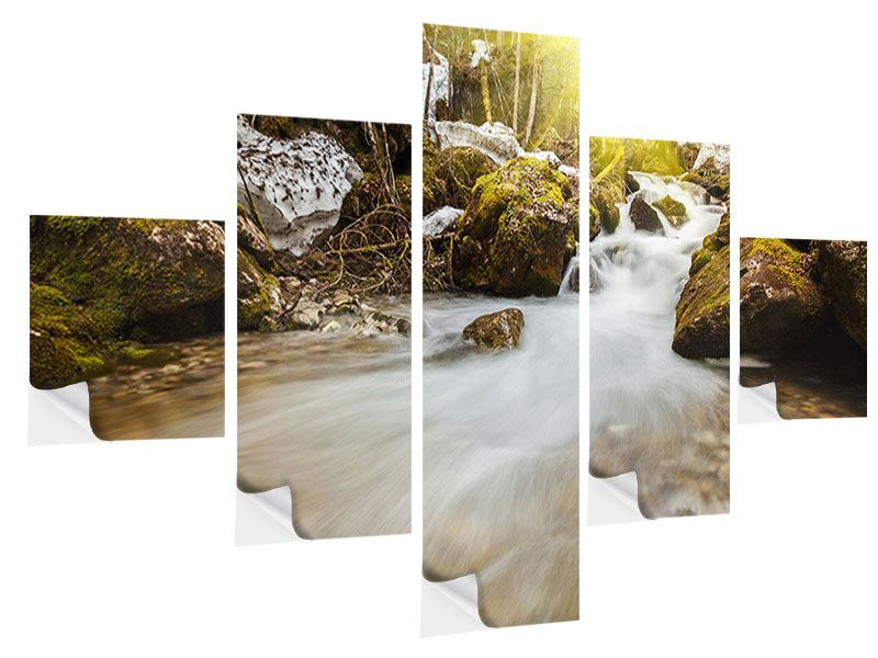 5 Piece Self-Adhesive Poster Cascading Waterfall