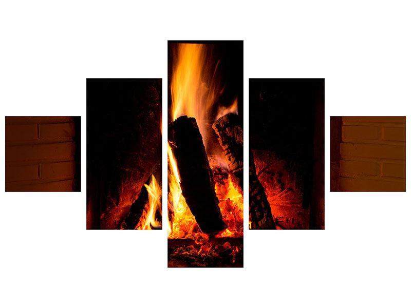 5 Piece Self-Adhesive Poster Fire In The Chimney