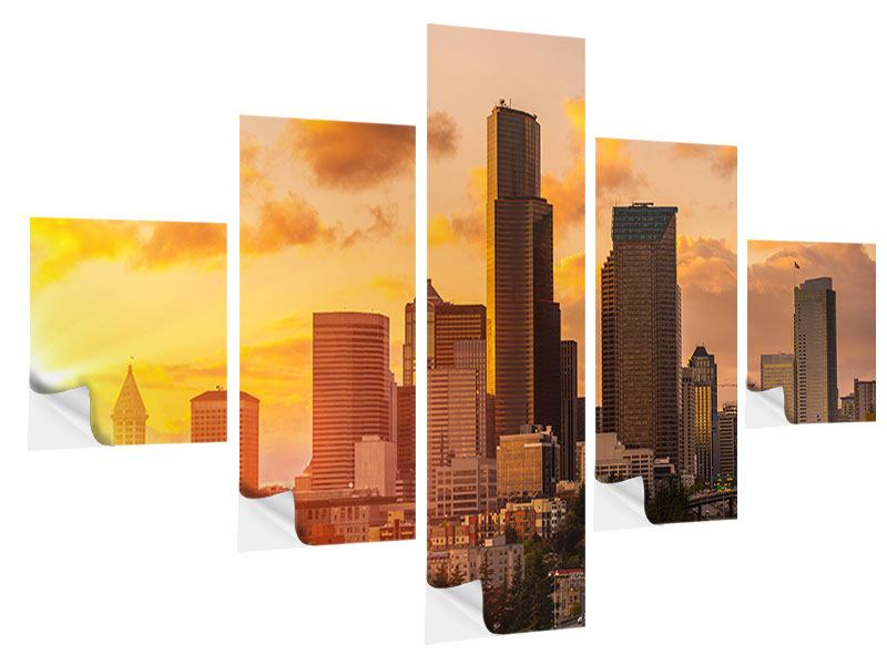 5 Piece Self-Adhesive Poster Skyline Washington