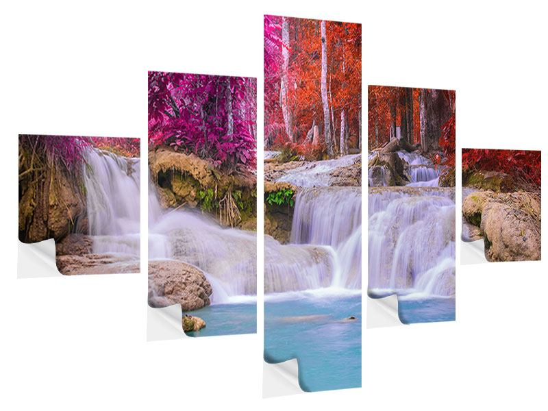 5 Piece Self-Adhesive Poster Paradisiacal Waterfall