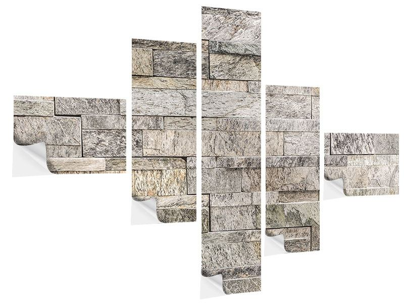 Modern 5 Piece Self-Adhesive Poster Elegant Stone Wall