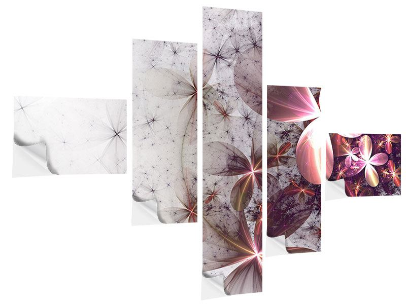 Modern 5 Piece Self-Adhesive Poster Abstract Floral