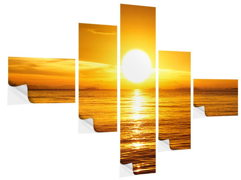 Modern 5 Piece Self-Adhesive Poster Fantastic Sunset