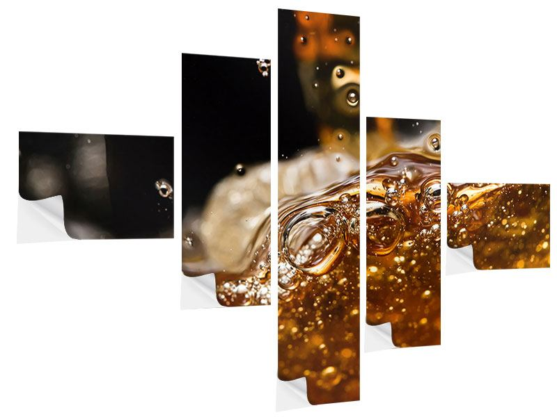 Modern 5 Piece Self-Adhesive Poster Cognac