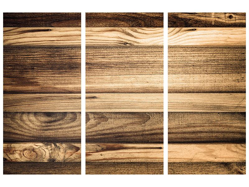 3 Piece Canvas Print Wood Trend