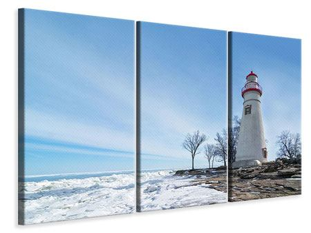 3 Piece Canvas Print Lighthouse In Snow