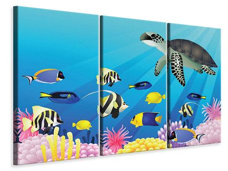 3 Piece Canvas Print Children`s Underwater World