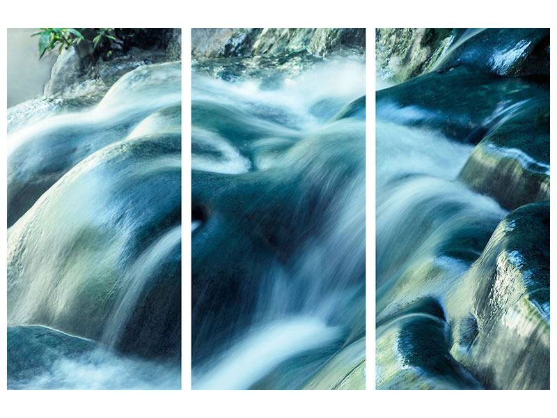 3 Piece Canvas Print The Flowing Water