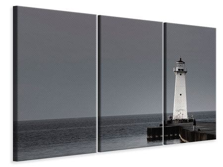 3 Piece Canvas Print The Lighthouse At Night