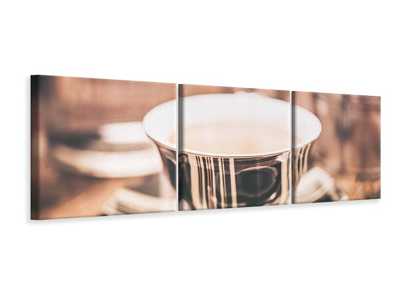 Panoramic 3 Piece Canvas Print Coffee's Ready