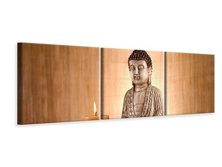 Panoramic 3 Piece Canvas Print Buddha In Meditation