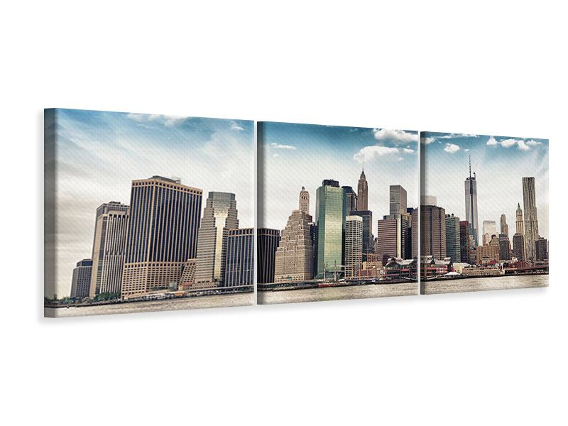 Panoramic 3 Piece Canvas Print NYC From The Other Side