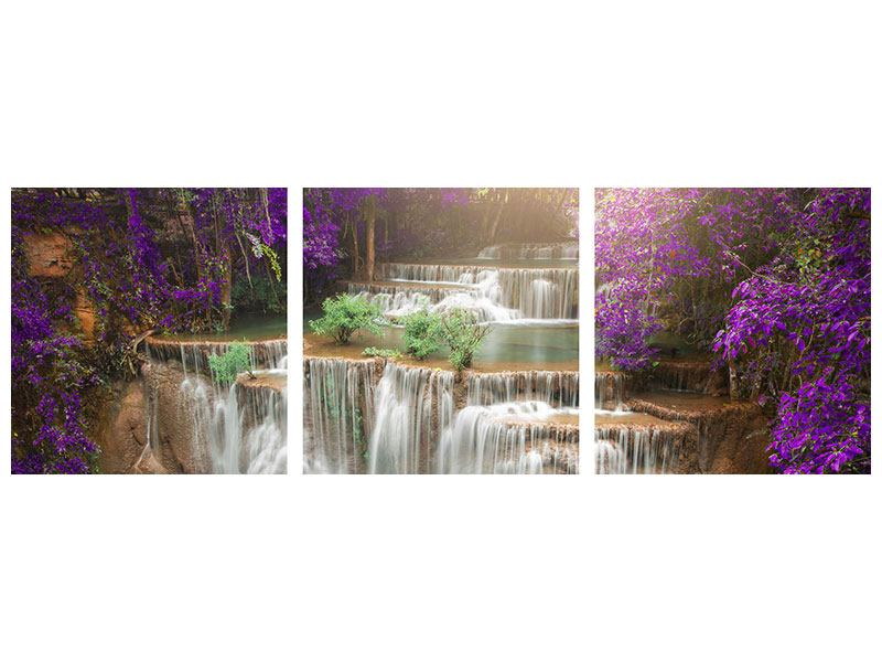 Panoramic 3 Piece Canvas Print Photowallpaper Garden Eden