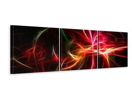 Panoramic 3 Piece Canvas Print Fraktally Light Spectacle