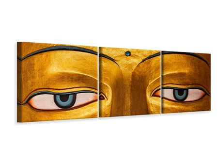 Panoramic 3 Piece Canvas Print The Eyes Of Buddha