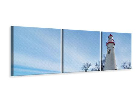 Panoramic 3 Piece Canvas Print Lighthouse In Snow