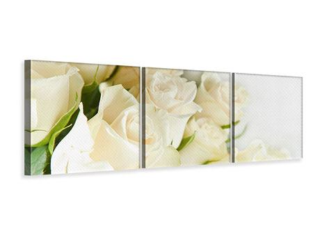 Panoramic 3 Piece Canvas Print White Roses