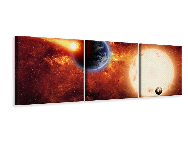Panoramic 3 Piece Canvas Print The Cosmos