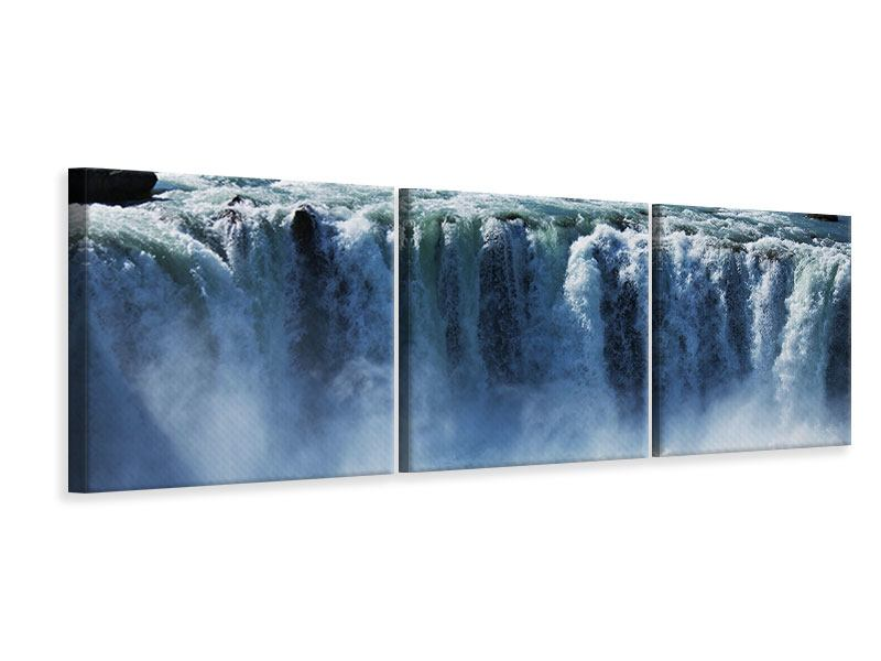 Panoramic 3 Piece Canvas Print Mighty Waterfall