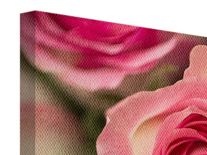 Panoramic 3 Piece Canvas Print Rose Love