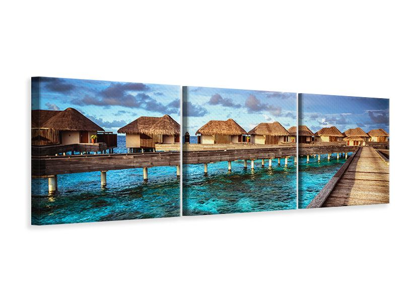 Panoramic 3 Piece Canvas Print Dream Home In The Water