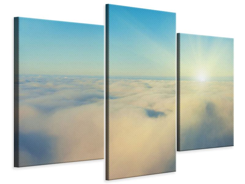 Modern 3 Piece Canvas Print Photo Wallaper Dawn Above The Clouds