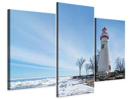 Modern 3 Piece Canvas Print Lighthouse In Snow