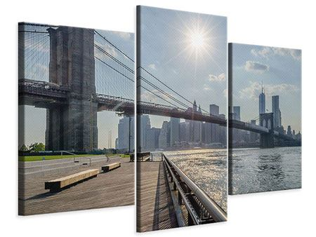 Leinwandbild 3-teilig modern Brooklyn Bridge