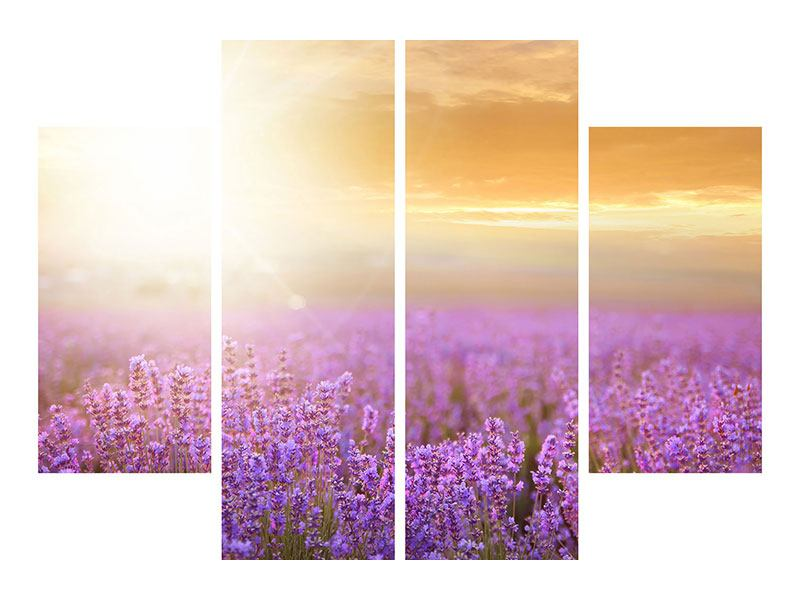 4 Piece Canvas Print Sunset In Lavender Field