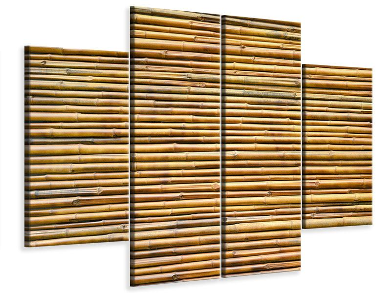 4 Piece Canvas Print Horizontal Bamboo Wall