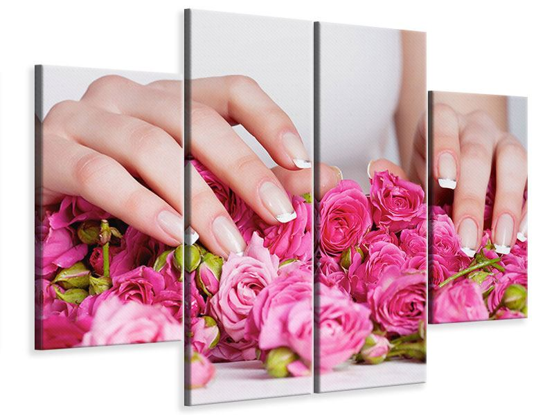 4 Piece Canvas Print Hands Bed Of Roses