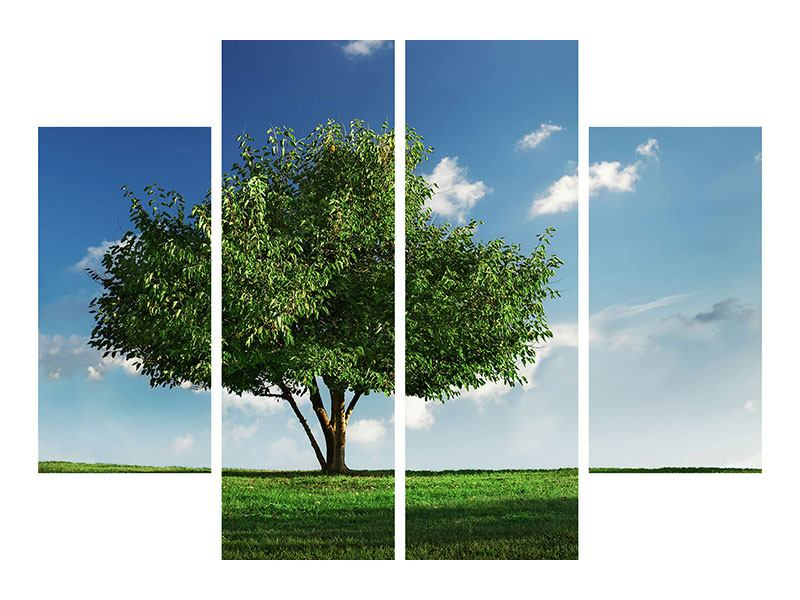 4 Piece Canvas Print Tree in Green